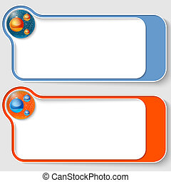 set of two abstract text boxes with a Christmas balls