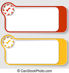 set of two abstract text boxes with arrows and check box