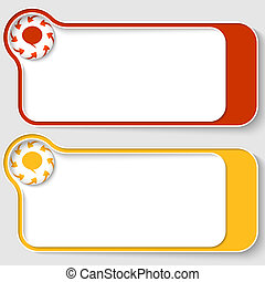 set of two abstract text boxes with arrows and speech bubble