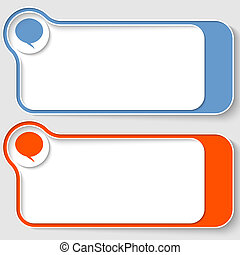 set of two abstract text boxes with speech bubble