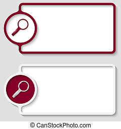 set of two abstract text frame with magnifier