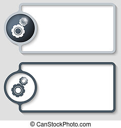 set of two abstract text frame with cogwheels