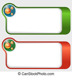 set of two abstract text frames with a Christmas balls