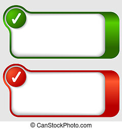 set of two abstract text frames with check box