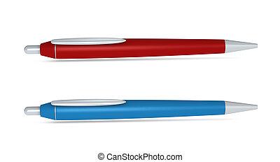 two ballpoint pens