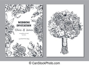 Set of two banners with beautiful floral frame and bouquet. Wedding invitation, greeting card