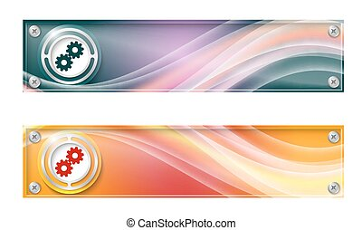Set of two banners with colored rainbow and cogwheels
