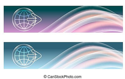 Set of two banners with colored rainbow and icon of globe