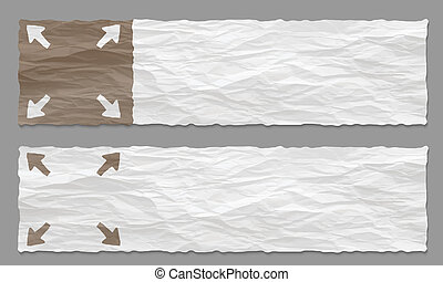 set of two banners with crumpled paper and arrows