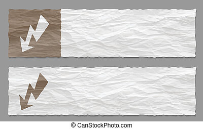 set of two banners with crumpled paper and flash