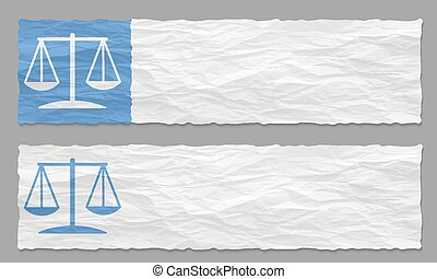 set of two banners with crumpled paper and law symbol