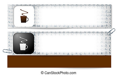 set of two banners with the texture of the letters and cup of coffee