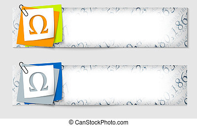 set of two banners with the texture of the numbers and omega...