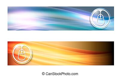 Set of two banners with waves and mouse icon