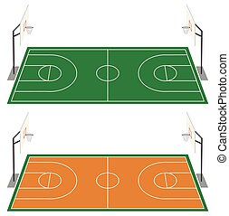 Set of two basketball courts