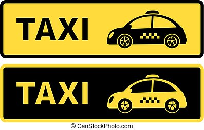 black and yellow retro taxi sign