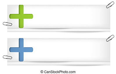 set of two blank banners with plus sign