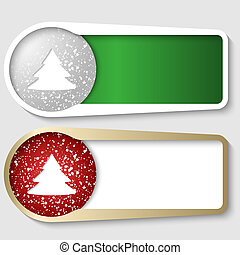 set of two boxes for any text with a Christmas tree