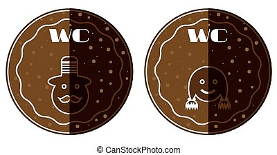 Set of two, brown, dotted toilet stickers, text WC