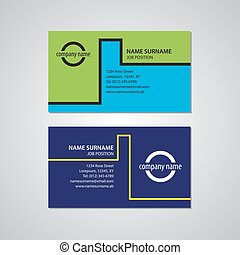 set of two business cards 3,5 x 2 in