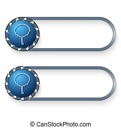 set of two buttons with arrows and tree symbol