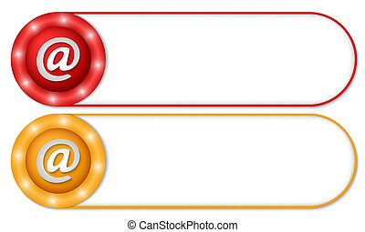 set of two buttons with email icon