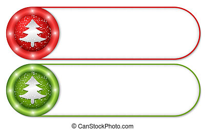 set of two buttons with falling snow and xmas tree