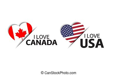 Set of two Canadian and United States of America heart shaped stickers. I love Canada and America. Made in USA, Made in Canada. Simple icons with flags isolated on a white background