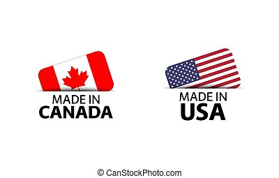 Set of two Canadian and United States of America stickers. Made in Canada and Made in USA. Simple icons with flags isolated on a white background