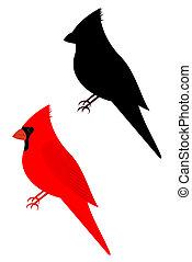 Set of two cardinal birds