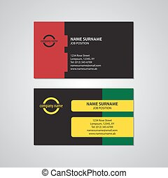 set of two colored business cards - USA standard
