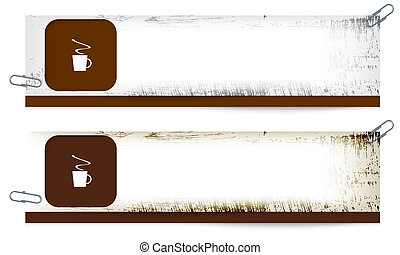 set of two dirty banners with cup of coffee