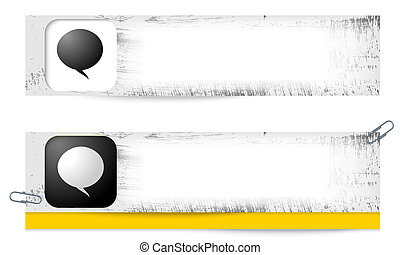 set of two dirty banners with speech bubble
