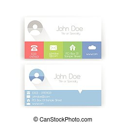 Set of Two Flat Metro Style Business Card with Soft Colors
