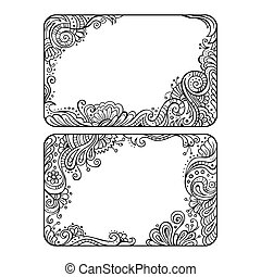 Set of two floral decorative vector frames