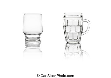 Set of two glasses on a white background
