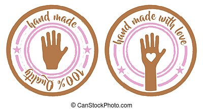 hand made stamps - set of two hand made stamps pink and...