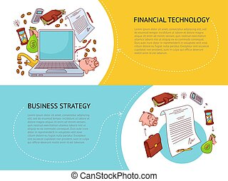 Set of two horizontal finance and business banners