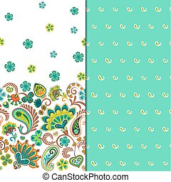 Set of two horizontal seamless floral pattern with paisley and fantasy flowers border. Hand drawn texture for clothes, bedclothes, fabric of the dress etc. Blue