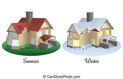 Set of two houses in summer and winter time