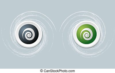 set of two icon and spiral symbol