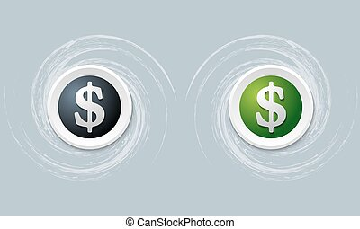 set of two icon with dollar symbol