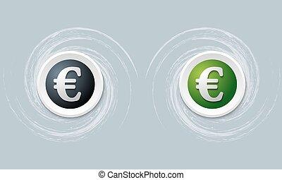 set of two icon with euro symbol