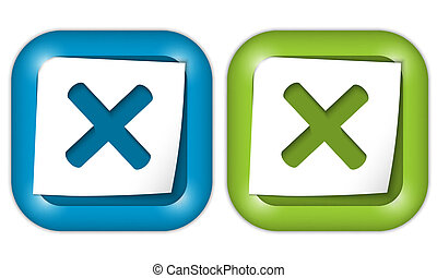 set of two icons with paper and ban sign