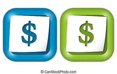 set of two icons with paper and dollar sign