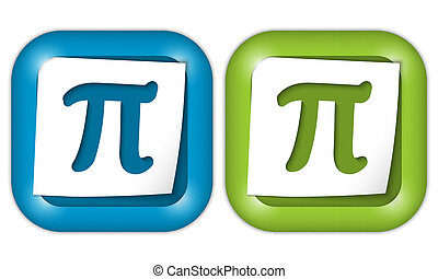 set of two icons with paper and pi sign