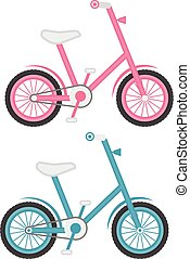 Set Of Two Kids Bicycles Isolated On A White Background. Vector Illustration.