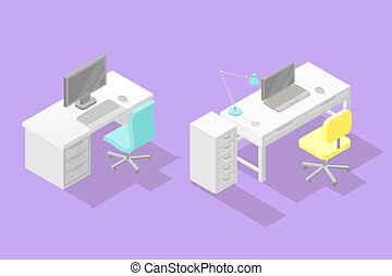Set of two low poly isometric work places