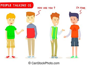 "Set of two men talking about "" How are you ? "" ,Two men character talking, Young guy, Gestures, I'm fine, Stylized cartoon character, Cartoon for education, Two men meeting, Student, Two men greetings"