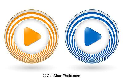 set of two orange icons with play symbols